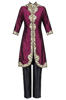 Wine Pita Embroidered Jacket with Black Pants