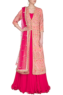 Peach Pink & Red Embroidered Jacket Lehenga Set by Sanna Mehan