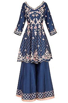 Midnight Blue Embroidered Sharara Set by Sanna Mehan