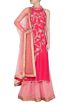Coral Embroidered Sharara Set by Sanna Mehan