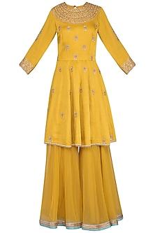 Mustard Embroidered Sharara set by Sanna Mehan