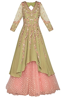 Olive Green Embroidered Lehenga Set by Sanna Mehan
