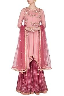 Blush Pink Embroidered Sharara Set by Sanna Mehan