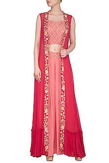 Cherry Red Embroidered Cape With Crop Top & Pants by Sanna Mehan
