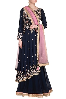 Midnight Blue Embroidered Kurta With Skirt & Dupatta by Sanna Mehan