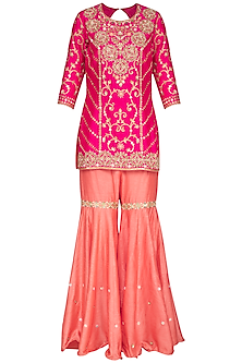 Hot Pink Embroidered Sharara Set by Sanna Mehan