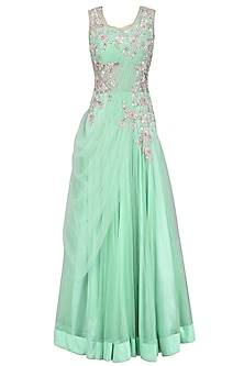 Mint Green Floral Zardozi and Sequins Embroidered Anarkali Gown