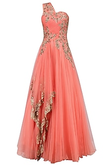 Wine Floral Zardozi and Sequins Embroidered One Shoulder Flared Gown