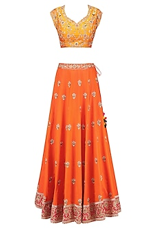 Mango Floral Motifs Blouse with Orange Flared Kalidaar Lehenga Skirt by Sanna Mehan