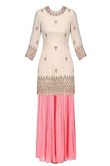 Nude Floral Embroidered Short Kurta and Sharara Pants Set