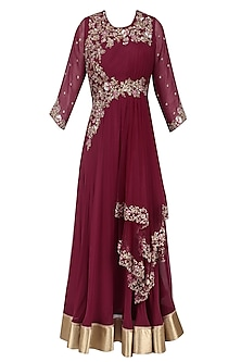 Wine Floral Zardozi and Sequins Embroidered Flared Anarkali Gown