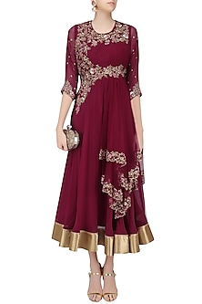 Wine Floral Zardozi and Sequins Embroidered Flared Anarkali Gown by Sanna Mehan