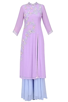 Lavender Floral Embroidered Long Kurta with Aqua Blue Sharara Pants by Sanna Mehan