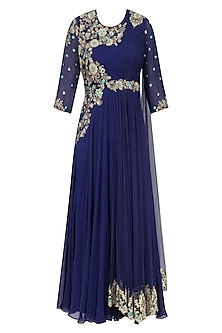 Navy Blue Floral Zardozi and Sequins Embroidered Flared Anarkali Gown