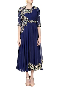 Navy Blue Floral Zardozi and Sequins Embroidered Flared Anarkali Gown by Sanna Mehan