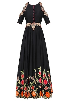 Black Floral Embroidered Cold Shoulder Flared Anarkali Set