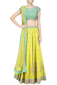 Green Floral Embroidered Blouse and Lemon Yellow Lehenga Skirt Set by Sanna Mehan