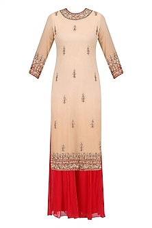 Beige Floral Embroidered Long Kurta and Red Sharara Pants Set
