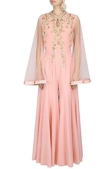 Pink Thread And Pearl Embroidered Jumpsuit by Sanna Mehan