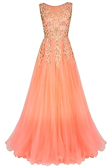Peach Pink Ombre Appliqued Work Gown by Sanna Mehan