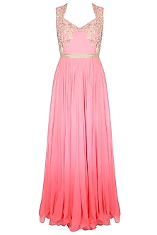 Pink Lavender Ombre Pleated Gown