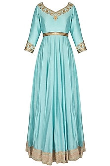 Ice Blue Metallic Floral Embroidered Anarkali Set