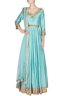 Ice Blue Metallic Floral Embroidered Anarkali Set by Sanna Mehan