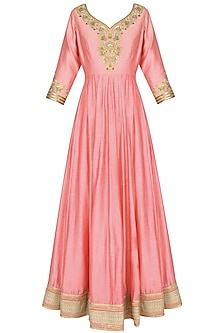 Pink Metallic Floral Embroidered Anarkali Set