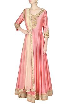 Pink Metallic Floral Embroidered Anarkali Set by Sanna Mehan