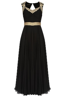 Black Floral Embroidered Pleated Evening Gown by Sanna Mehan