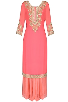 Candy Pink Mirror Embroidered Kurta And Sharara Set by Sanna Mehan
