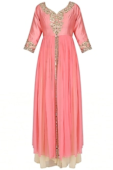 Pink Mirror And Zardozi Embroidered Kurta Set by Sanna Mehan