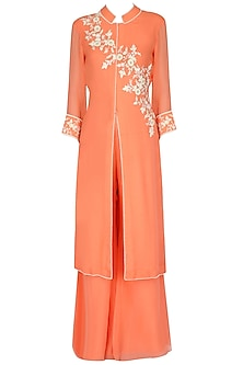 Atomic Tangerine Asymmetric Embroidered Tunic Set by Sanna Mehan