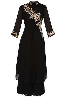 Black Asymmetric Embroidered Tunic Set by Sanna Mehan