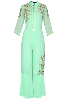 Mint Green Floral Zardozi Embroidered Tunic Set by Sanna Mehan