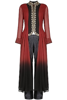 Red And Black Ombre Antique Copper Hand Embroidered Tunic With Pants