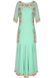 Sea Green Embroidered Floral Motif Kurta And Sharara Pants by Sanna Mehan