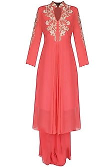 Coral Pearls And Zardozi Embroidered Tunic Set by Sanna Mehan