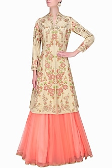 Cream pearls and sequins embellished collared jacket and peach lehenga set by Sanna Mehan