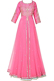 Hot pink floral embroidered anarkali kurta and skirt set by Sanna Mehan