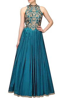 Teal double shaded zardozi and sequins embroidered halter style gown by Sanna Mehan