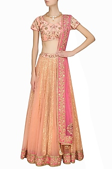 Salmon peach sequins and anchor embroidered lehenga and blouse set by Sanna Mehan