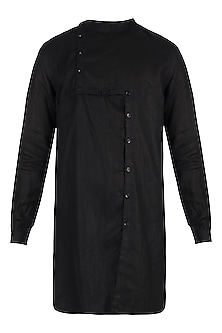 Black linen kurta