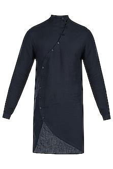 Navy blue curved placket kurta