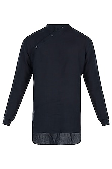 Navy blue linen placket kurta