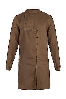 Brown linen kurta