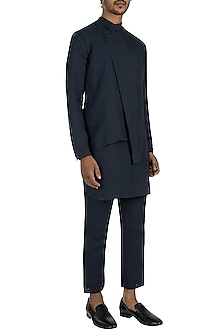 Navy blue asymmetric jacket by Son Of A Noble SNOB