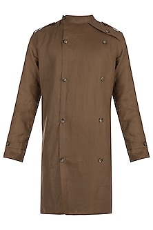 Brown trench shacket