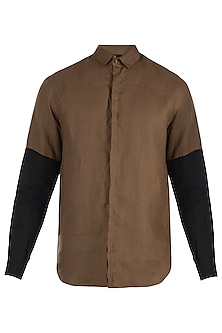 Brown sleeves blocked shirt