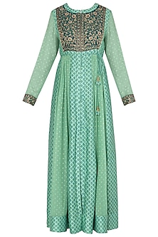 Light Green Block Printed and Embroidered Anarkali Set